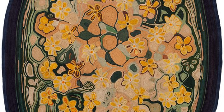 Jean Louise Berg Thiessen, Untitled (oval yellow floral), on-edge felt mosaic, c. 1900s-1930s