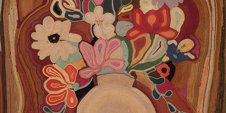 Jean Louise Berg Thiessen, Untitled (vase with bouquet), on-edge felt mosaic, c. 1900s-1930s