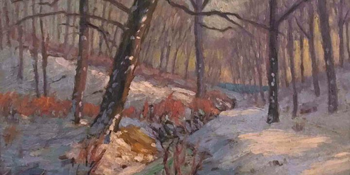 Robert F. Gilder, Untitled (stream through forest), oil on canvas, n.d.