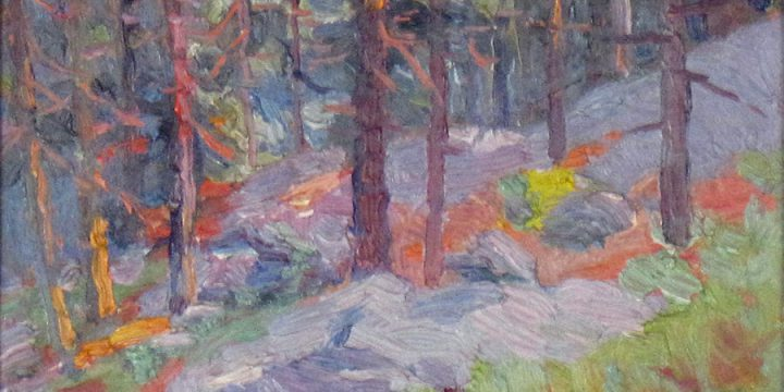 Robert F. Gilder, Untitled (forest), oil on board, n.d.