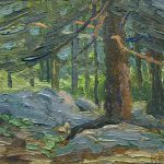 Robert F. Gilder, Spruce Trees, oil on board, n.d.