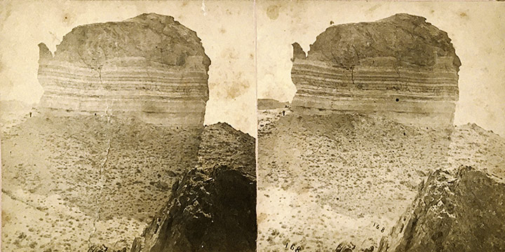 William Henry Jackson, Scenery of the Union Pacific Railroad - No. 168 Giant's Teapot- Green River, stereoview, 1868-1869