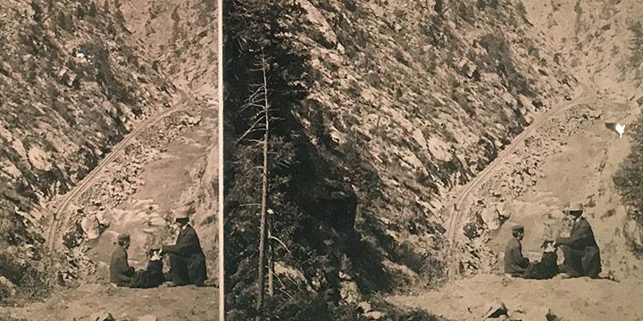 William Henry Jackson, 1903 Platte Canon near Deans. (Deansbury), stereoview, n.d.