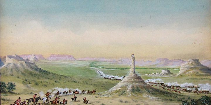 From Courthouse Rock to Scott's Bluff (Chimney Rock), watercolor on illustration board, 1930