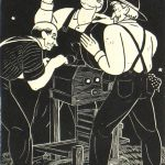 Dale Nichols, Untitled (men at cider press), woodblock print (48/60), n.d.