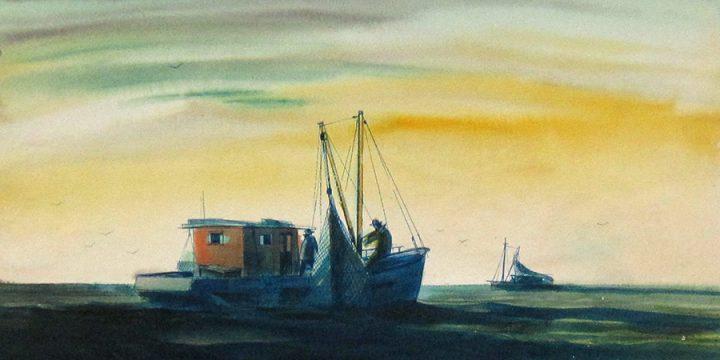 Dale Nichols, Untitled (fishing scene), watercolor, n.d.