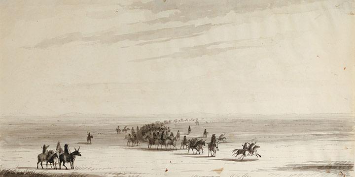 Alfred Jacob Miller, Caravan en route (Stewart's caravan), pen, pencil, ink wash on paper, 1837
