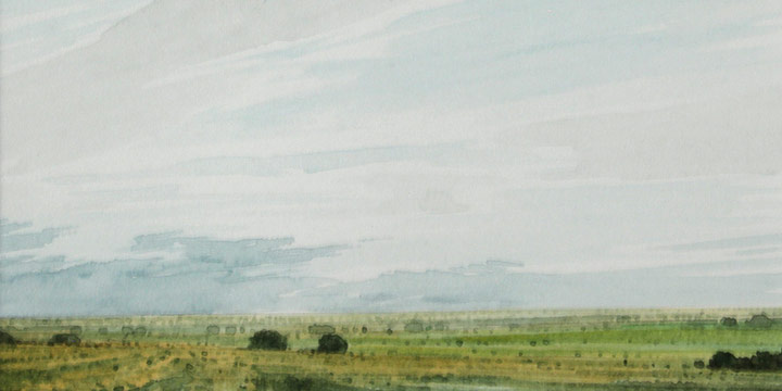 """Keith Jacobshagen, Towards Greenwood - Late afternoon August 18, 1994, watercolor, 1994, 4 × 5½"""" sight"""
