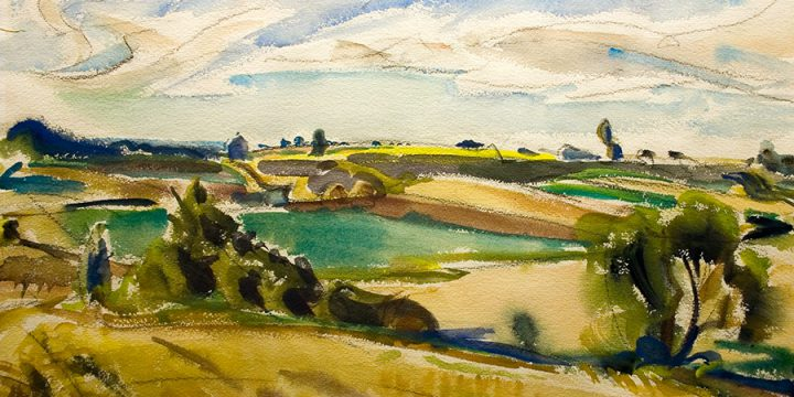 Dwight Kirsch, Wheatlands, watercolor, 1947