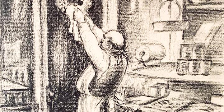 Marilyn Belschner, Delicatessen (copy of Grant Reynard print), charcoal