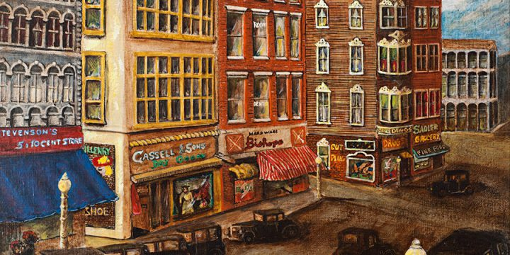 Wilma Shull, Coming to Town for Saturday Night,  acrylic on board, 1976