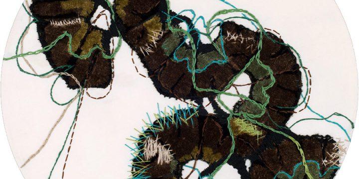 Leoda A. Davis, Platte River Swirl, textile collage, 1978