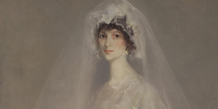 Robert Henri, Portrait of Eulabee Dix (Becker) in Her Wedding Gown, oil, 1910