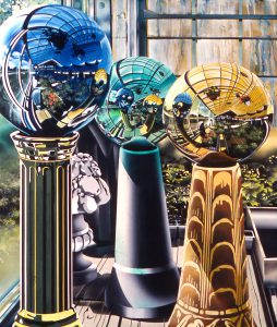 Robert Therien, Three Gazing Globes, oil on canvas, c. 1980