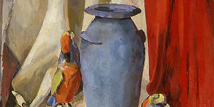 Leonard Thiessen, Still Life with Blue Vase, oil on canvas, 1938-1940, 1979