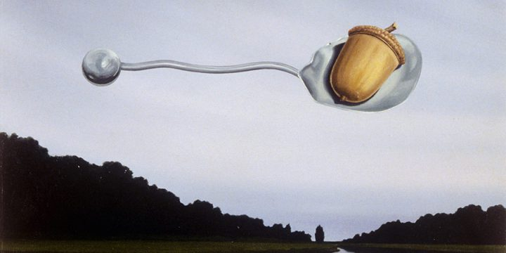 Malcolm Christhilf, Untitled (spoon with acorn suspended over a landscape), oil, n.d.