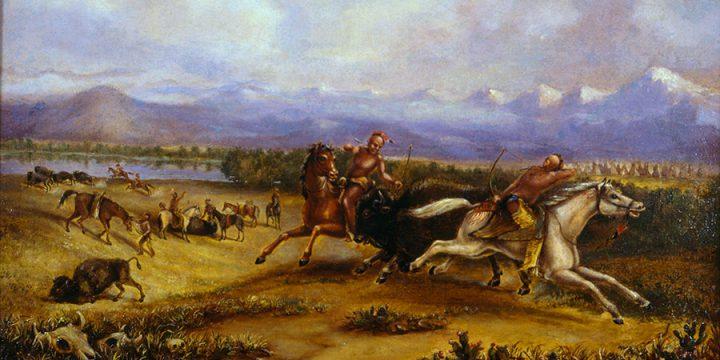 Titian Ramsay Peale, Buffalo Hunt on the River Platte, oil on linen, 1873