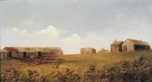 Imogene See, Nebraska Farmstead, oil on academy board, c. 1880s