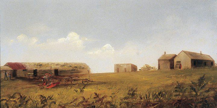 Imogene See, Nebraska Farmstead, oil on academy board, c. 1880s