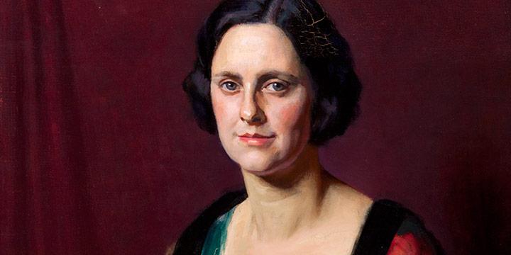J. Laurie Wallace, Portrait of Lucille Hoel Hoadley, oil on canvas, c. 1933