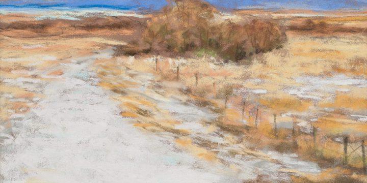 Mary Louise Tejeda-Brown, A Nebraska Sketchbook #2131-Snowy Roadway Near Our Mailbox, pastel