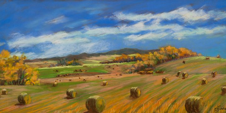 Mary Louise Tejeda-Brown, Large Landscapes #1058-Autumn Fields–Large hay bales west of Chadron. pastel, c.1997-98