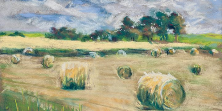 Mary Louise Tejeda-Brown, A Nebraska Sketchbook #2030-Hay Bales in Fields West on Junge Farm, Pastel, 1997