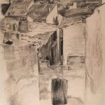 Leonard Thiessen, Istres, B. duRhone (village view, sketch #2), graphite, c. 1932