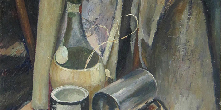 Leonard Thiessen, Still Life with Chianti Bottle, oil on canvas on wood panel, c. 1936