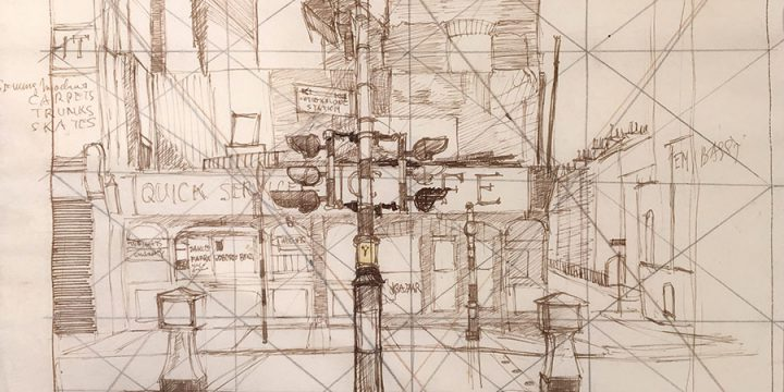 Leonard Thiessen, Untitled (preliminary sketch for Notting Hill Gate), ink, 1949 - 1950