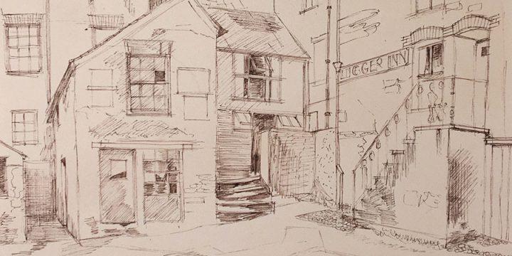 Leonard Thiessen, The Lugger Inn, Polruan, Cornwall, ink, n.d.