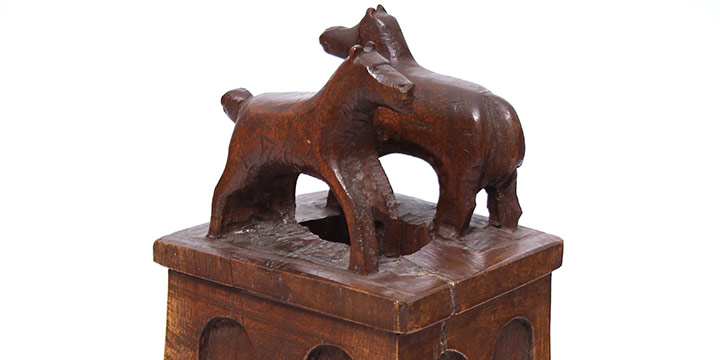 Eric Berggren, Untitled (bannister top with horses), carved wood, n.d.