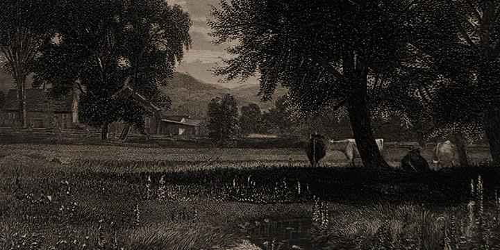 Thomas Worthington Whittredge, The Homestead, steel engraving, c. 1866