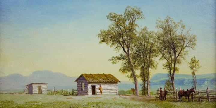 Albert Bierstadt, Nebraska Homestead (also titled Landscape with Log Cabins), oil on paper laid down on board, 1863
