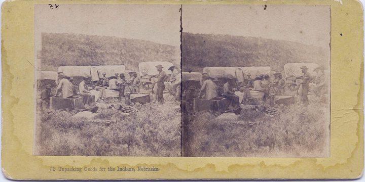 Albert Bierstadt, Unpacking Goods for the Indians, Nebraska, stereoview