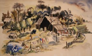 Marie Jakl, Down South, watercolor on paper mounted to wood