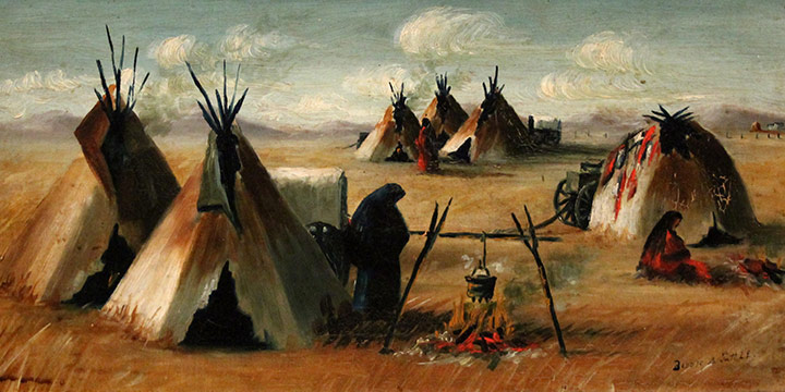 Elizabeth Tuttle Holsman, Untitled (Native American encampment, near Rushville, Nebraska), oil on board, c. 1890
