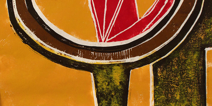 "Ruth Waddy, Untitled #1, Series B, Linocut (4/12), 1968, 21 × 25"""