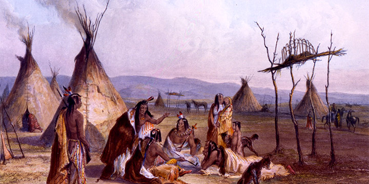 Karl Bodmer, Funeral Scaffold of a Sioux Chief near Fort Pierre, hand-colored aquatint, etching, stipple; second state, 1839