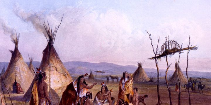 Karl Bodmer, Funeral Scaffold of a Sioux Chief, aquatint, 1839