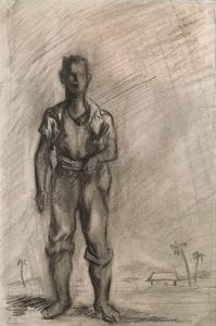 Emery Abraham (Donald) Forbes, Standing Male Figure - Tropical, pencil, n.d.
