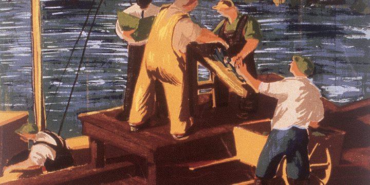Katherine (Kady) Burnap Faulkner, Unloading Fish, silkscreen, 1941