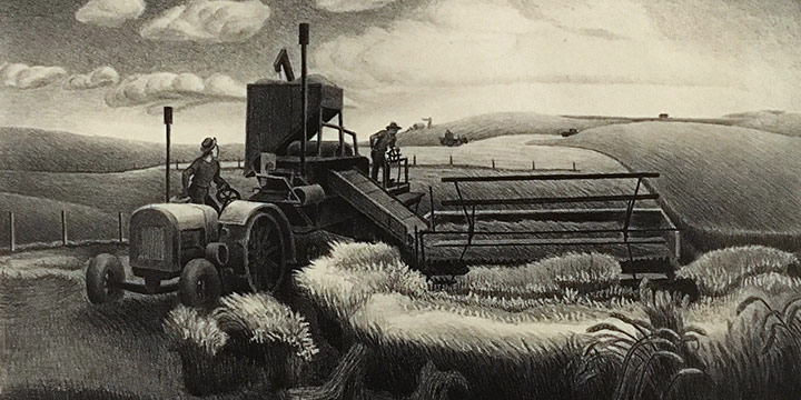 Aaron Pyle, Harvest, lithograph, 1950