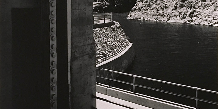 Michael Farrell, From the Gatehouse at Alcova Dam on the North Platte River. 1995, silver print, 1995