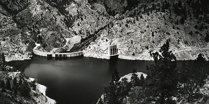 Michael Farrell, Seminoe Dam on the North Platte River -Carbon County, Wyoming. 1994, silver print, 1994