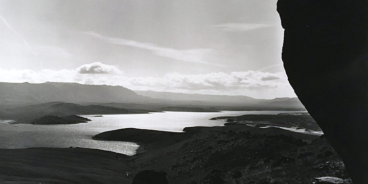 Michael Farrell, Seminoe Reservoir - Morning Haze Lifting - From the Campground Access Road,  Carbon County, Wyoming.  1997, silver print, 1997