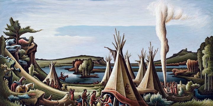 Aaron Pyle, Indian Encampment, tempera on board, n.d.