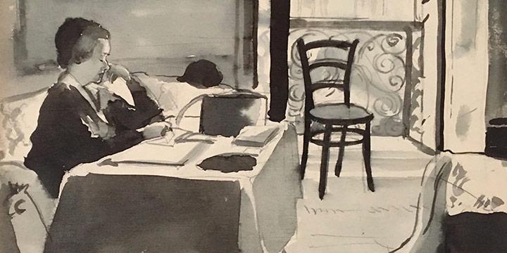 "Mary Elizabeth Gifford, Cairo.  Our Room, Shepheard's Hotel.  ""Kirk"" Corbett, watercolor, 1932"