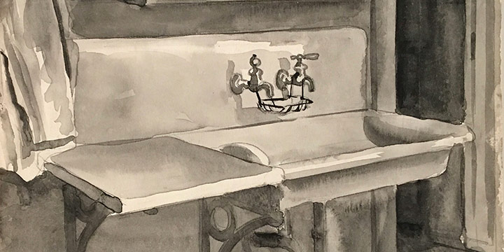 Mary Elizabeth Gifford, Jonas Hse., watercolor, 1935