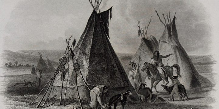 Karl Bodmer, A Skin Lodge of an Assiniboin Chief, steel engraving, n.d.